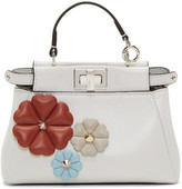 Fendi White Flowerland Micro Peekaboo Bag