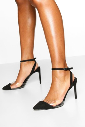 boohoo Clear Panel Pointed Heel Courts