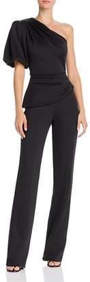 Black Halo Brenna Puff Sleeve One-Shoulder Jumpsuit