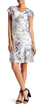 Komarov Flower Print Lace Cutout Dress