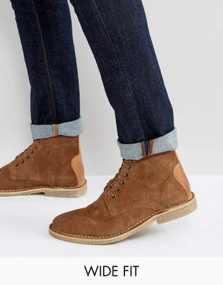 Asos Design Wide Fit Desert Boots In Tan Suede With Leather Detail