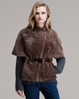 Brunello Cucinelli Shearling Belted Kimono Coat