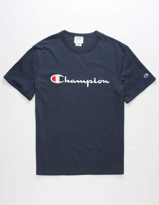 Champion Script Embroidered Navy Mens T-Shirt