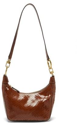 STAUD Holt Snake-effect Leather Shoulder Bag - Brown