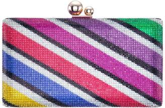 Nina Jamboree Striped Crystal Minaudiere Clutch