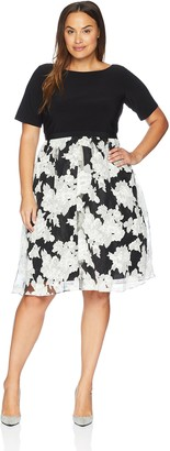 Adrianna Papell Women's Plus Size Svnnh Orgnza PRT Fit N Fl