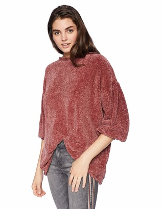 Angie Women's Chenille Balloon Sleeve Pullover Sweater