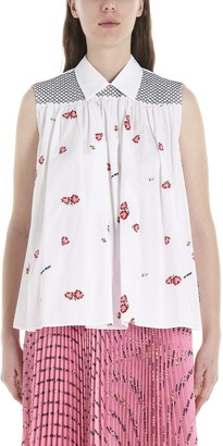 Miu Miu All Over Print Sleeveless Shirt