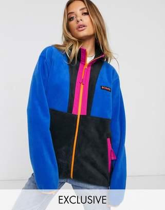 Columbia Back Bowl full zip fleece in blue Exclusive at ASOS