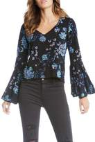 Fifteen-Twenty Fifteen Twenty Blue Embroidered Top
