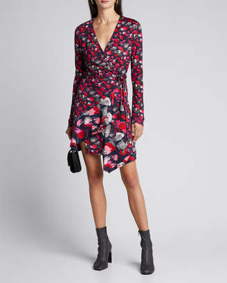 Diane von Furstenberg Elita Floral Long-Sleeve Asymmetrical Wrap Dress