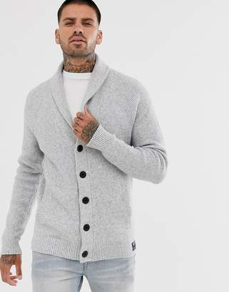 Hollister heavy knit shawl collar cardigan in gray