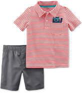Carter's 2-Pc. Striped Cotton Polo & Shorts Set, Baby Boys