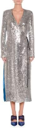 ATTICO Long-Sleeve Sequin and Velvet Robe Wrap Cocktail Dress