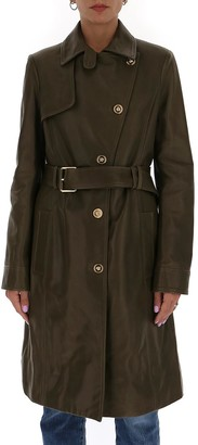 Versace Medusa Belted Leather Trench Coat