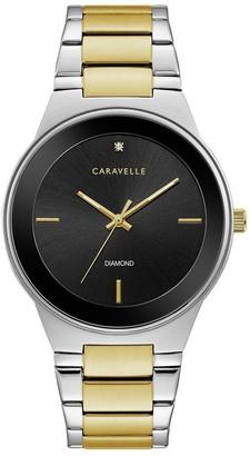Caravelle Designed by Bulova Men's 45D107 Modern Diamond Dial Two-Tone Stainless Bracelet Watch