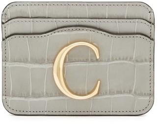 Chloé The C Logo Crocodile-embossed Leather Cardholder - Grey
