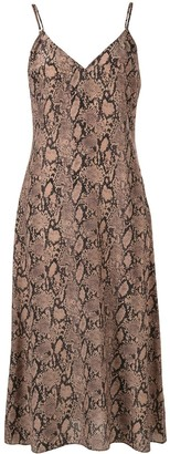 Frame Snakeskin-Print Slip Dress
