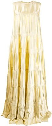N°21 N21 Yellow Tiered Tie-back Maxi Dress