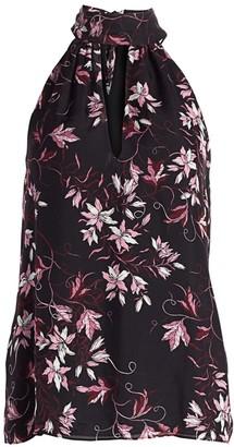 Ramy Brook Floral-Print Keyhole Silk Halter Top