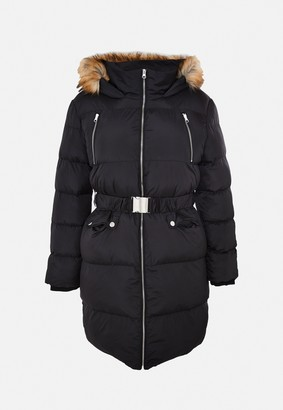 Missguided Plus Size Black Faux Fur Belted Puffer Jacket