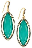 INC International Concepts Gold-Tone Hematite Pavé & Green Stone Drop Earrings, Created for Macy's