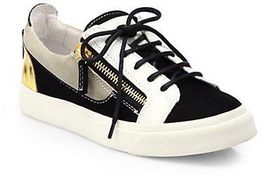 Giuseppe Zanotti Mixed Media Low-Top Sneakers