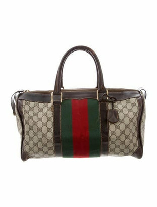 Gucci Vintage GG Plus Web Boston Bag Brown