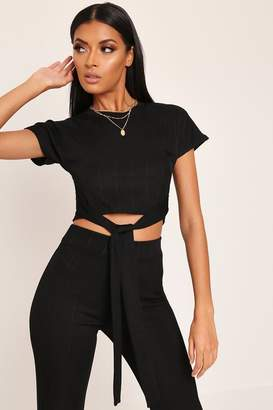 I SAW IT FIRST Black Tie Front Ribbed Crop Top