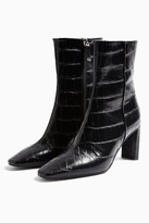 Topshop MELODY Black Leather Crocodile Boots