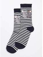 Dorothy Perkins Womens Navy Stripe Koala Socks- Blue