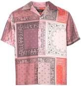 Amiri bandana reconstructed short sleeve silk shirt coral