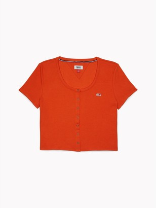 Tommy Hilfiger Ribbed Snap-Front T-Shirt