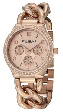 Stuhrling Original Stainless Steel Rose Tone Case on Chain Bracelet, Rose Tone Dial, Swarovski Crystal Studded Bezel, With Rose Tone and White Accents