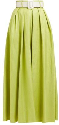 Marta Ferri - High-rise Silk-bourette Belted Maxi Skirt - Green