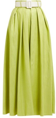 Marta Ferri - High-rise Silk-bourette Belted Maxi Skirt - Womens - Green