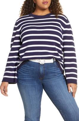Halogen x Atlantic-Pacific Stripe Oversize Sweater