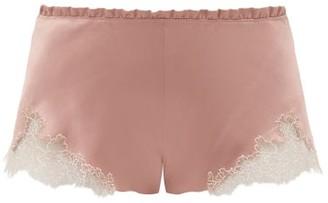 Carine Gilson Flottant Lace-trimmed Silk-satin Shorts - Womens - Dark Pink