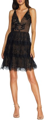 Dress the Population Nellie Sequin Lace Fit & Flare Minidress