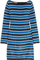 Michael Kors Striped Sequined Silk Mini Dress - Blue