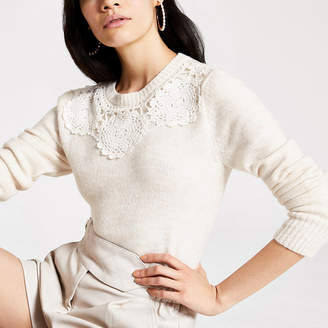 River Island Beige lace trim long sleeve knitted jumper