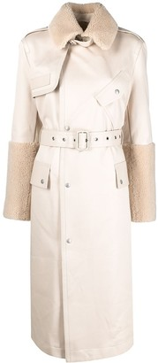 Mr & Mrs Italy Shearling-Trim Trench Coat