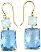 Ippolita 18K Gold Rock Candy Rectangle Snowman Earrings in Amazonite/Swiss Topaz