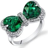 Ice 5 CT TW Emerald 14K Polished White Gold Fashion Ring with Diamond Accents