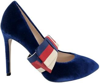 Gucci Sylvie Blue Velvet Heels