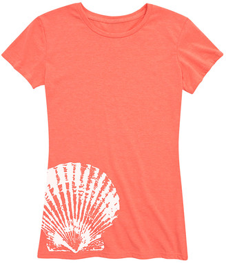 Instant Message Women's Women's Tee Shirts HEATHER - Heather Coral Seashell Side Hit Relaxed-Fit Tee - Women