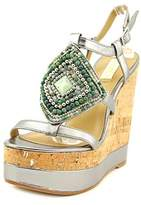 Lauren Ralph Lauren Mattie Open Toe Leather Wedge Sandal.
