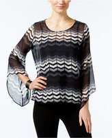 Alfani Printed Angel-Sleeve Top, Only at Macy's