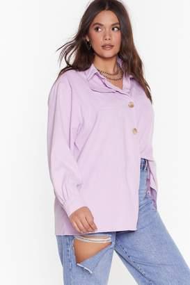 Nasty Gal Womens Don't Texture Back Plus Corduroy Shirt - Purple - 22