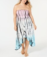 Raviya Plus Size Tie-Dye Tube Dress Cover-Up Women's Swimsuit